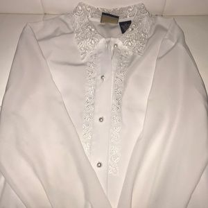 White embroidered and pearl blouse